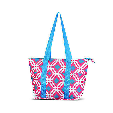 Zodaca Large Insulated Lunch Tote Bag, Pink/Blue Graphic