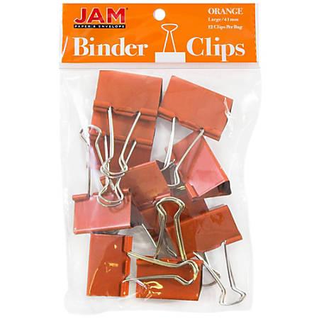 """JAM Paper® Designer Binder Clips, Large, 1"""" Capacity, Orange, Pack Of 12 Clips"""
