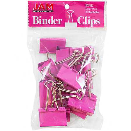"JAM Paper® Designer Binder Clips, Large, 1"" Capacity, Pink, Pack Of 12 Clips"