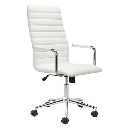 Zuo® Modern Pivot Faux Leather High-Back Office Chair, White/Chrome