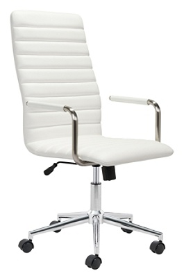 Zuo Modern Pivot Faux Leather High-Back Office Chair, White/Chrome Item #  8282132