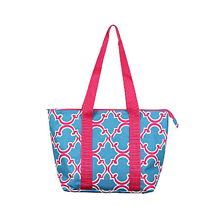 Zodaca Large Insulated Lunch Tote Bag, Blue Quatrefoil