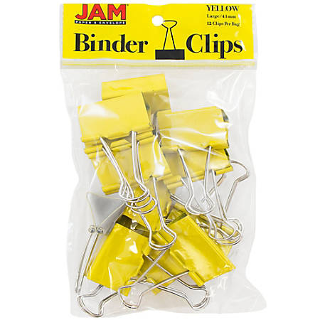 "JAM Paper® Designer Binder Clips, Large, 1"" Capacity, Yellow, Pack Of 12 Clips"