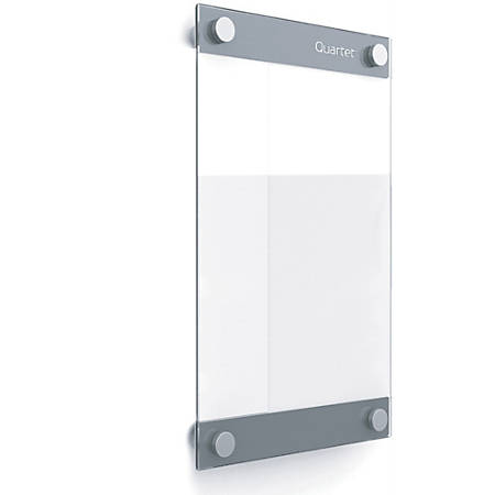 "Quartet Infinity Customizable Glass DryErase Board - 11"" (0.9 ft) Width x 17"" (1.4 ft) Height - Clear/White Glass Surface - Rectangle - Horizontal/Vertical - Wall Mount - Assembly Required - 1 Each"