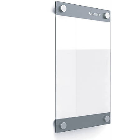 """Quartet Infinity Customizable Glass DryErase Board - 8.5"""" (0.7 ft) Width x 11"""" (0.9 ft) Height - Clear/White Glass Surface - Rectangle - Horizontal/Vertical - Wall Mount - Assembly Required - 1 Each"""