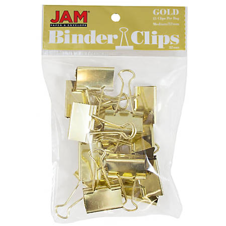 "JAM Paper® Designer Binder Clips, Medium, 1/2"" Capacity, Gold, Pack Of 15 Clips"