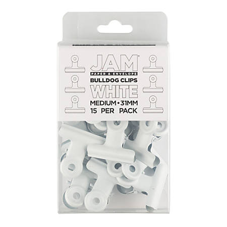 "JAM Paper® Bulldog Clips, 1-3/16""W, 1/2"" Capacity, White, Pack Of 15 Clips"