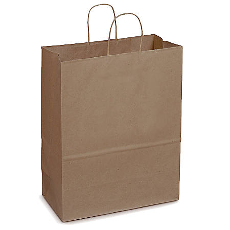 """SuperMart Kraft Paper Shopping Bags With Rope Handles, 17""""H x 7""""W x 13""""D, Pack Of 250"""