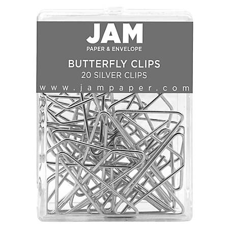 """JAM Paper® Butterfly Clips, Large, 1/2"""" Capacity, Silver, Pack Of 20 Clips"""