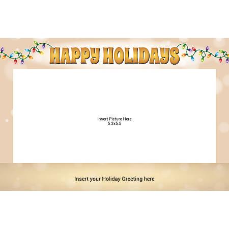 Flat Photo Greeting Card, Happy Holiday Bulbs, Horizontal