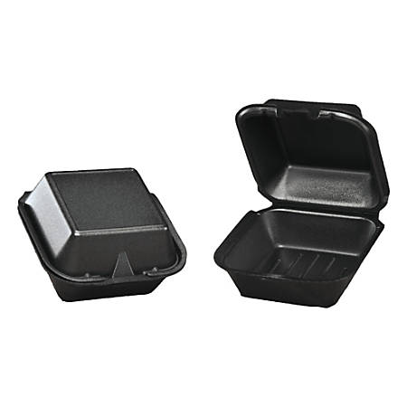 "Genpak® Snap-It Foam Hinged Carryout Containers, 3 1/8""H x 5 11/16""W x 5 13/16""D, Black, Pack Of 125 Containers"