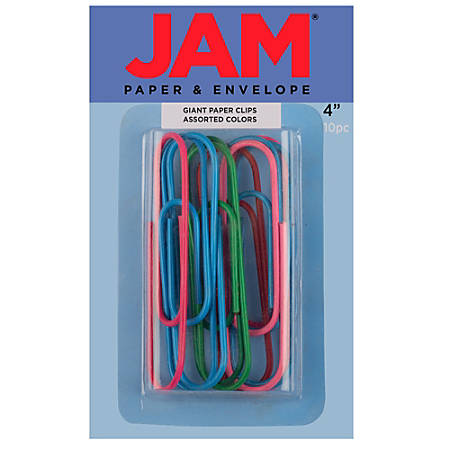 "JAM Paper® Giant Paper Clips, 4"", 20-Sheet Capacity, Assorted Colors, Box Of 10 Clips"