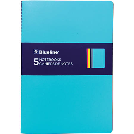Rediform Blueline 5 Notebooks Pack - 64 Pages - Sewn - Soft Cover, Flexible Cover, Bleed Resistant - 5 / Pack