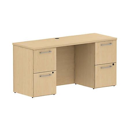 "Bush Business Furniture 300 Series Office Desk With 2 Pedestals 60""W, Natural Maple, Premium Installation"