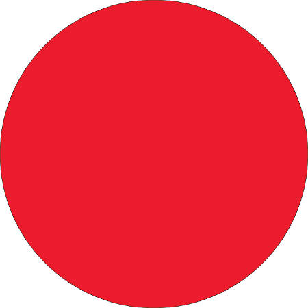 "Removable Round Color Inventory Labels, DL613G, 2"" Diameter, Fluorescent Red, Pack Of 500"