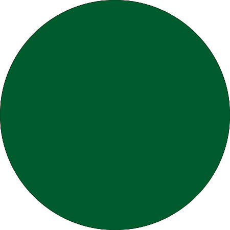 "Removable Round Color Inventory Labels, DL612D, 1 1/2"" Diameter, Green, Pack Of 500"