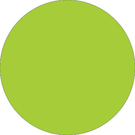 """Removable Round Color Inventory Labels, DL613J, 2"""" Diameter, Fluorescent Green, Pack Of 500"""