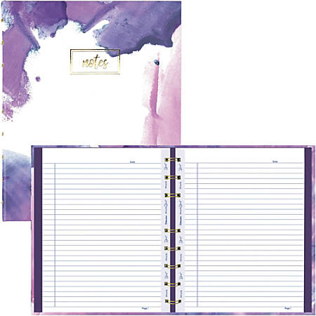 """Blueline MiracleBind Passion Collection Notebook - Paintstroke - Twin Wirebound - 7 1/4"""" x 9 1/4"""" - Hard Cover, Printed, Storage Pocket, Micro Perforated - Recycled"""