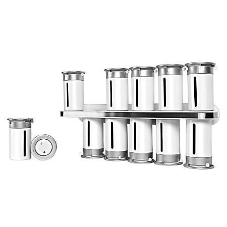 "Honey-Can-Do Zero Gravity™ Wall-Mount Magnetic Spice Rack, 12 Canisters, 7 1/2""H x 14 1/4""W x 3""D, White/Silver"