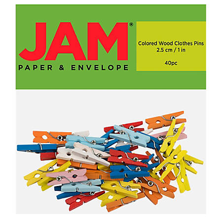 """JAM Paper® Wood Clip Clothespins, 7/8"""", Assorted Colors, Pack Of 40 Clothespins"""