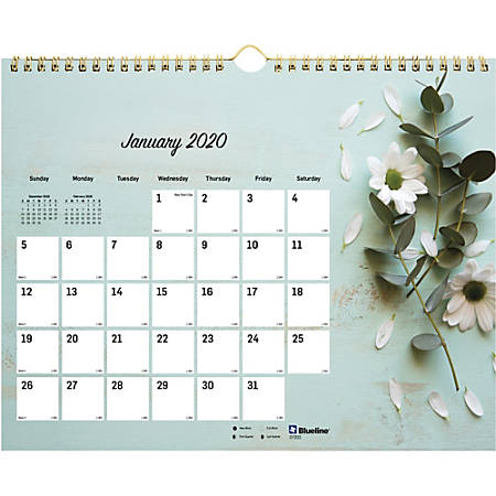Rediform Romantic Flowers Monthly Wall Calendar - Yes - Monthly - January till December - Twin Wire - Wall Mountable - Floral - Reminder Section, Moon Phases, Holiday Listing, Reference Calendar, Unruled Daily Block - 1 Each