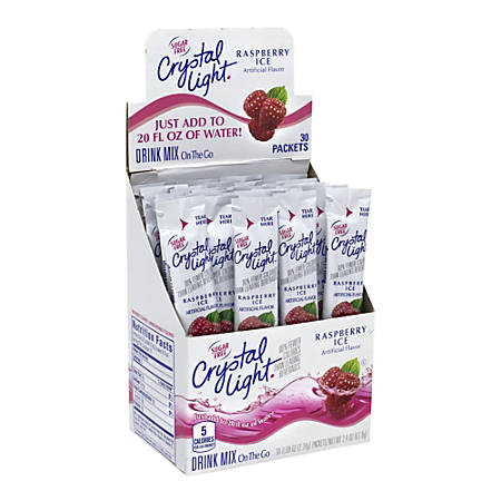 Crystal Light On-The-Go Sugar-Free Drink Mix, Raspberry Ice, 0.08 Fl Oz, 30 Packets Per Box, Pack Of 2 Boxes
