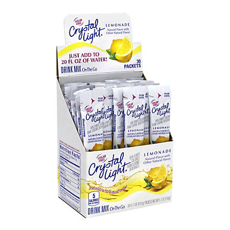 Crystal Light On-The-Go Sugar-Free Drink Mix, Lemonade, 0.17 Fl Oz, 30 Packets Per Box, Pack Of 2 Boxes