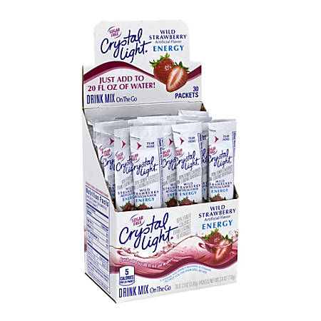 Crystal Light On-The-Go Sugar-Free Drink Mix, Wild Strawberry Energy, 0.13 Fl Oz, 30 Packets Per Box, Pack Of 2 Boxes