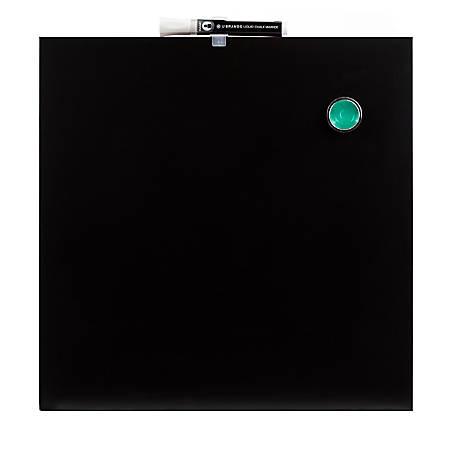 """U Brands Frameless Magnetic Chalkboard, Steel, 14"""" x 14"""", Black"""