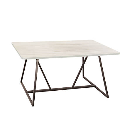 """Safco® Oasis Sit-Height Teaming Table, Rectangular, 29 1/4"""", Weathered White/Black"""
