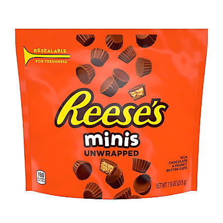 Reese's Minis Unwrapped Peanut Butter Cups, 7.6 Oz, Pack Of 4 Bags