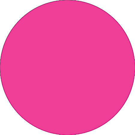 "Removable Round Color Inventory Labels, DL612K, 1 1/2"" Diameter, Fluorescent Pink, Pack Of 500"