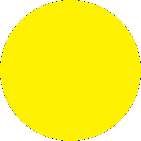 """Removable Round Color Inventory Labels, DL612L, 1 1/2"""" Diameter, Fluorescent Bright Yellow, Pack Of 500"""