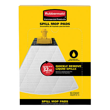 Rubbermaid® Spill Mop Pads, Refill, Pack Of 10 Pads