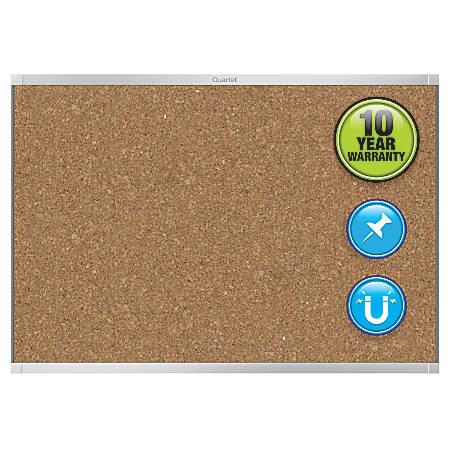 "Quartet® Prestige® 2 Magnetic Cork Bulletin Board, 96"" x 48"", Cork, Silver Aluminum Frame"