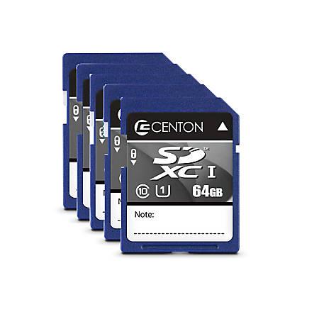 Centon Secure Digital™ Memory Cards, 64GB, Pack Of 5 Memory Cards, S1-SDXU1-64G-5-B