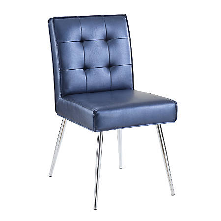 Ave Six Amity Tufted Dining Chair, Sizzle Azure/Silver