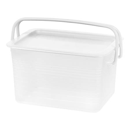 """IRIS Stacking Storage Baskets, 15-3/4"""" x 10-7/8"""" x 8-3/4"""", Clear, Pack Of 4 Baskets"""