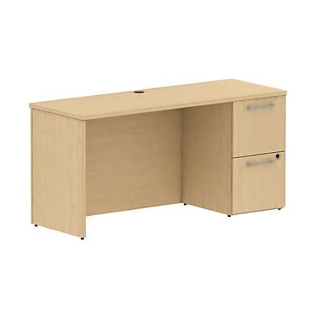 "Bush Business Furniture 300 Series Desk With Pedestal, 60""W x 22""D, Natural Maple, Premium Installation"
