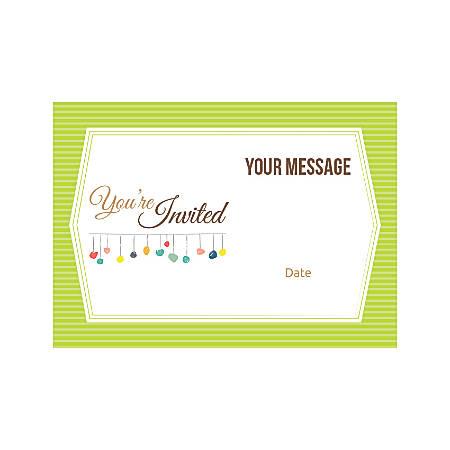 Flat Photo Greeting Card, Green Stripes, Horizontal