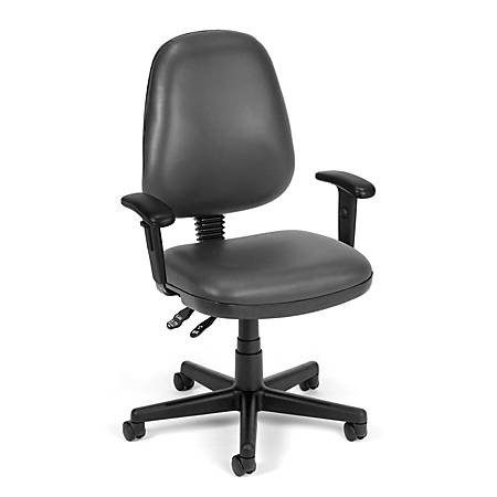 OFM Straton Series Vinyl Mid-Back Task Chair, Charcoal/Black