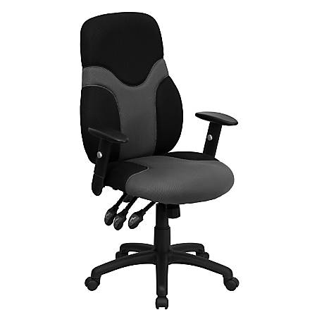 Flash Furniture Mesh High-Back Ergonomic Swivel Chair With Adjustable Arms, Black/Gray