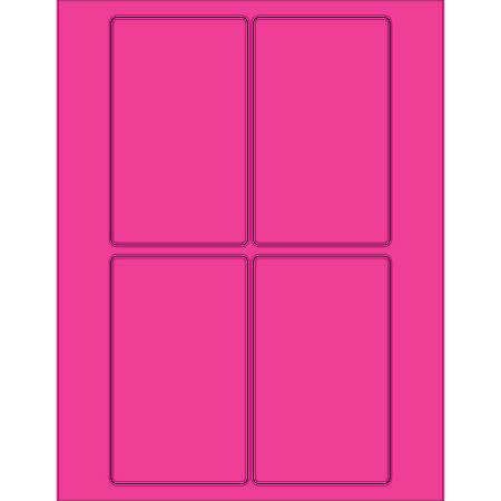 "Office Depot® Brand Labels, LL175PK, Rectangle, 3"" x 5"", Fluorescent Pink, Case Of 400"
