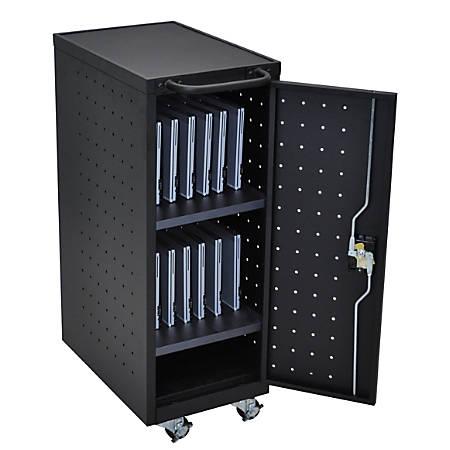 "Luxor 12 Capacity Laptop/Chromebook Compact Charging Cart, 39 5/8""H x 14""W x 24 3/4""D, Black"