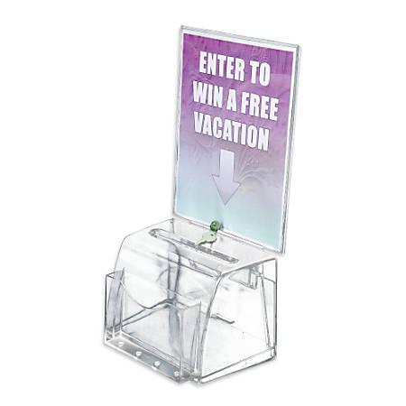 "Azar Displays Plastic Suggestion Box, With Lock, Molded, Medium, 6""H x 7 3/4""W x 5 1/2""D, Clear"