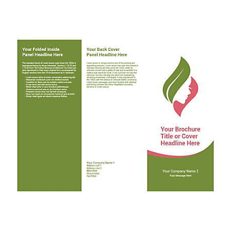 Customizable Trifold Brochure, Green Leaf/Pink Face