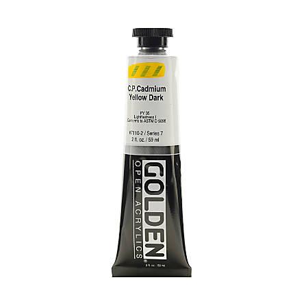 Golden OPEN Acrylic Paint, 2 Oz Tube, Cadmium Yellow Dark (CP)