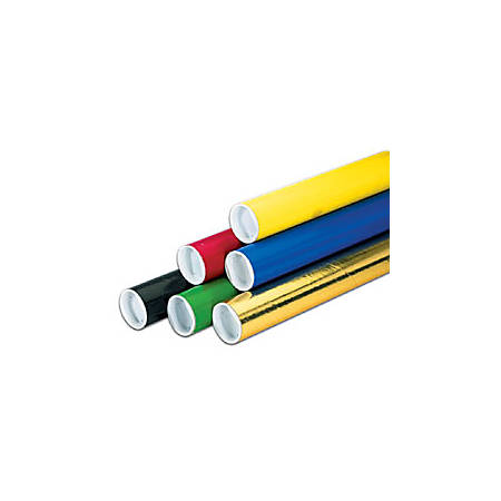 """Office Depot® Brand Color Mailing Tubes With Plastic Endcaps, 3"""" x 12"""", Yellow, Pack Of 24"""