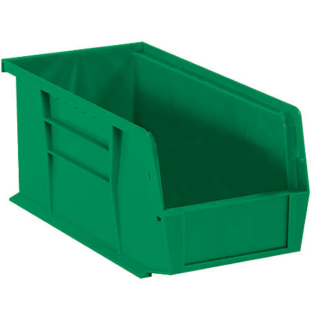 """Office Depot® Brand Plastic Stack And Hang Bin Boxes, 10 7/8"""" x 5 1/2"""" x 5"""", Green, Pack Of 12"""