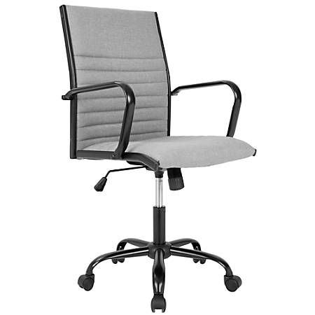 LumiSource Masters Contemporary Mid-Back Chair, Light Gray/Black